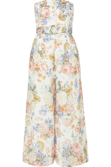 Bowie Strapless Floral-Print Linen Jumpsuit in Cream
