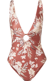 Zimmermann Wayfarer ring-embellished floral-print swimsuit