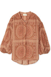 Zimmermann Primrose printed cotton and silk-blend plissé shirt