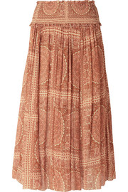 Zimmermann Primrose printed cotton and silk-blend plissé skirt