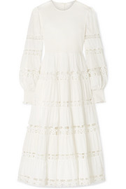 Zimmermann Primrose Daisy smocked crochet-trimmed fil coupé cotton-voile midi dress