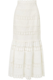 Zimmermann Wayfarer fluted crochet-trimmed linen maxi skirt