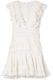 Zimmermann Wayfarer ruffled crochet-trimmed linen mini dress