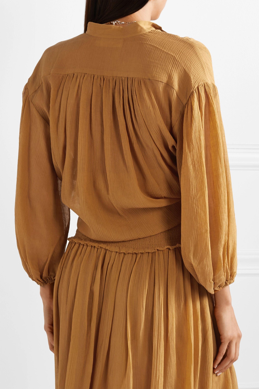 Zimmermann Primrose cotton and silk-blend plissé shirt