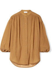 Primrose cotton and silk-blend plissé shirt