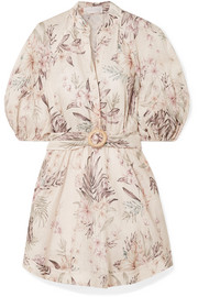 Zimmermann Wayfarer belted floral-print linen mini dress