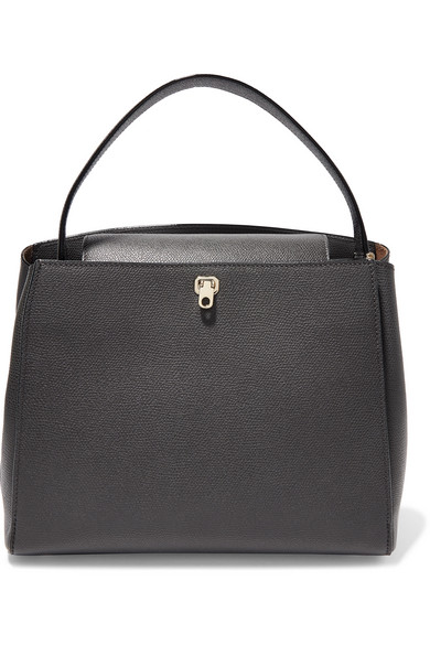 Brera Textured-Leather Tote in Gray