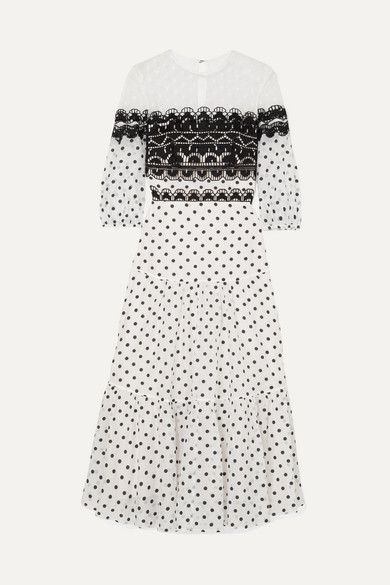 Prix Embroidered Tulle And Polka-Dot Georgette Midi Dress in White