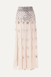 Starlet sequin-embellished pleated chiffon and point d'esprit maxi skirt