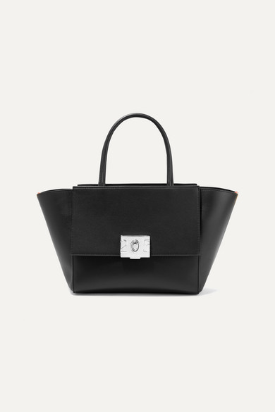Bonnie Medium Canvas-Trimmed Leather Tote