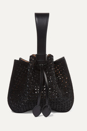 Small embellished laser-cut suede and leather bucket bag