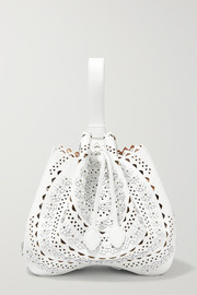 Medium appliquéd laser-cut leather bucket bag