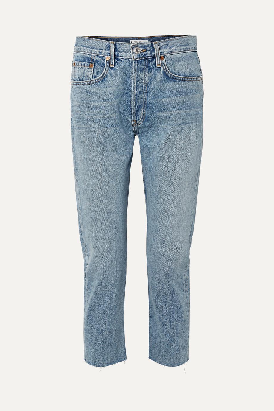 RE/DONE Cropped mid-rise slim boyfriend jeans