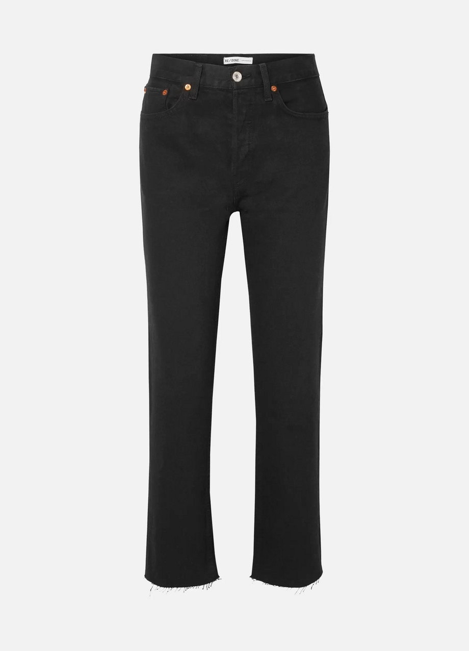 Exact Product: Stove Pipe Rigid high-rise straight-leg jeans, Brand: Re Done, Available on: net-a-porter.com, Price: $240
