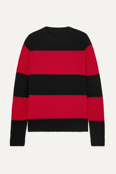 RE/DONE Striped Wool And Cashmere-Blend Sweater in Red