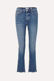 Double Needle Long frayed high-rise slim-leg jeans