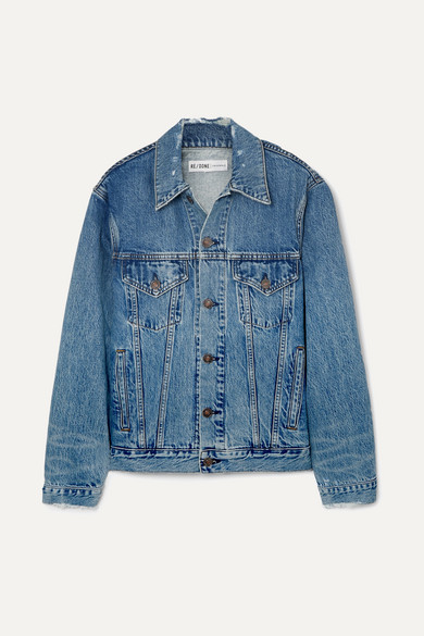 Oversized Distressed Denim Jacket by Re/Done