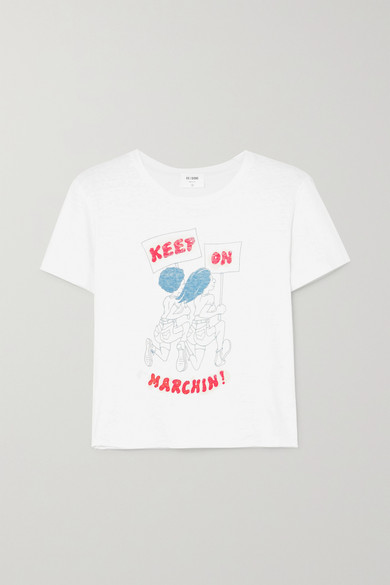 RE/DONE Keep On Marchin' Raw-Hem Graphic Cotton Tee in White