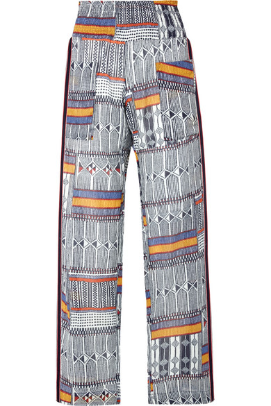 LEMLEM | LemLem - Kente Smocked Canvas-trimmed Printed Cotton-gauze Pants - Navy | Goxip