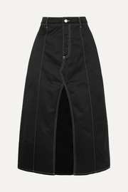 Slouch cotton-drill midi skirt