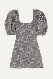 Famous ruched gingham cotton-blend poplin mini dress