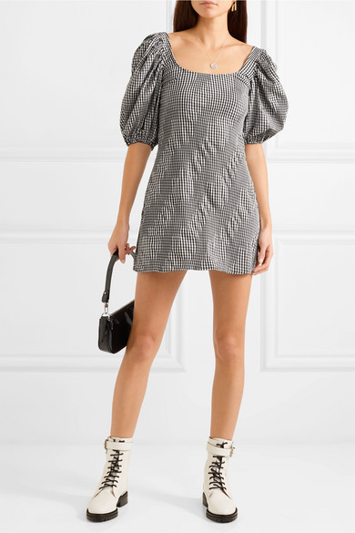 Famous Ruched Gingham Cotton Blend Poplin Mini Dress by Georgia Alice