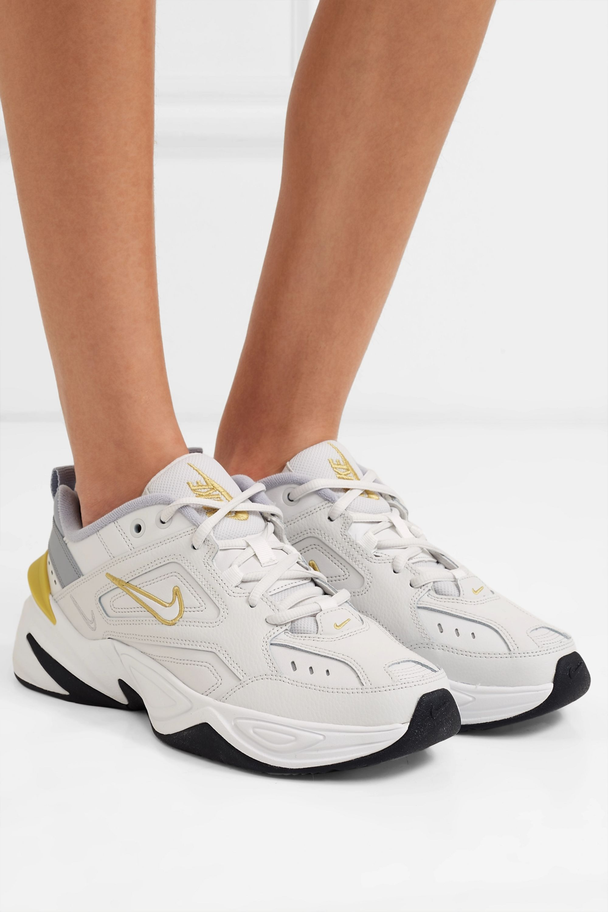 Light gray M2K Tekno leather and mesh