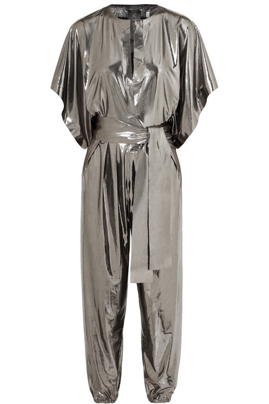 NORMA KAMALI Rectangle Stretch-Lamé Jumpsuit in Silver