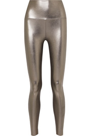 Norma Kamali Striped metallic stretch leggings