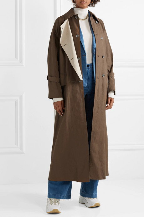 Oversized double-breasted linen trench coat