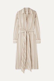 Daniela tie-embellished striped cotton-voile midi dress
