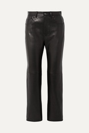 Lacy cropped leather straight-leg pants