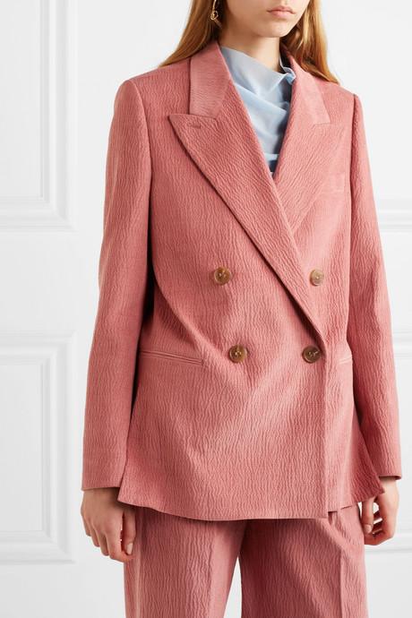 Double-breasted cotton-blend corduroy blazer
