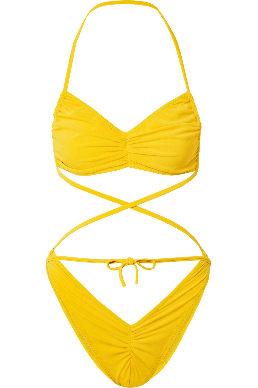 Norma Kamali Butterfly Neckholder-Bikini mit Raffungen