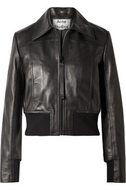 Loranne ribbed knit-trimmed leather jacket