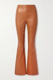 Lizzie paneled leather and ribbed-jersey flared pants