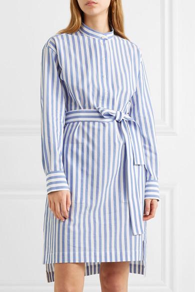 Acne Studios Dress Striped belted cotton-poplin dress