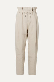Paoli pleated linen tapered pants