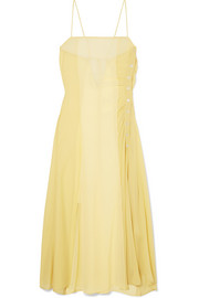 Delila button-embellished silk-chiffon and crepe de chine dress