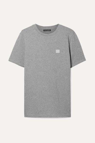 Ellison Appliquéd Cotton-Jersey T-Shirt in Light Gray
