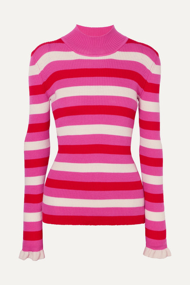 MAGGIE MARILYN You Make Me Happy Striped Merino Wool Sweater in Pink