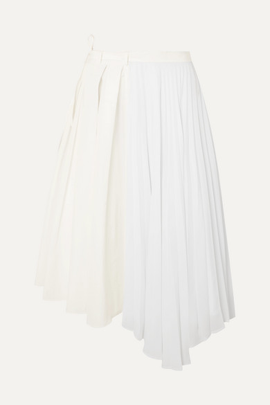 Safe In Your Arms Pleated Cotton-Blend Poplin And Crepe Wrap-Effect Skirt in White