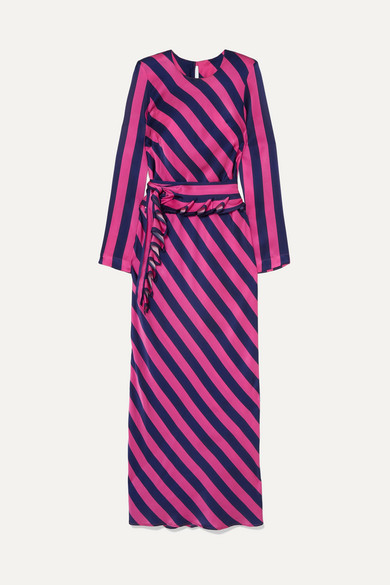Get 'Em Girl Striped Silk-Satin Maxi Dress in Fuchsia