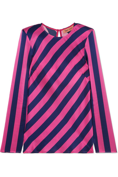 MAGGIE MARILYN I Wish You Well Open-Back Striped Silk-Satin Top in Fuchsia