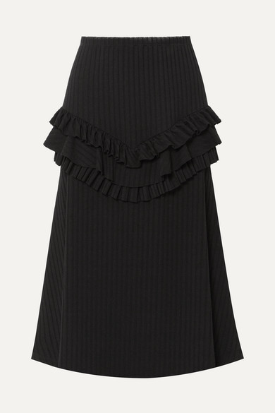 Can You Spot Me Ruffled Ribbed-Knit Midi Skirt in Black