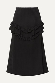 Can You Spot Me ruffled ribbed-knit midi skirt