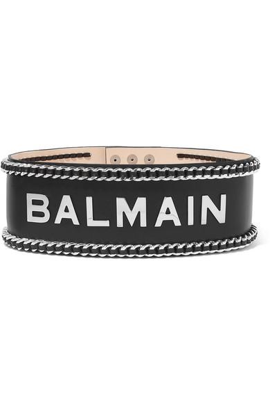 Embellished Leather Waist Belt in Black