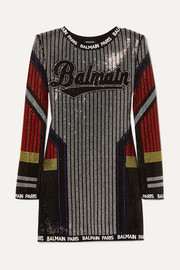 Balmain Intarsia-trimmed crystal-embellished stretch-jersey mini dress