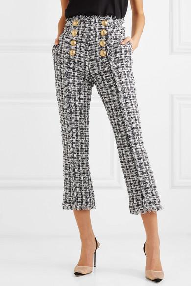 Balmain Pants Cropped button-embellished tweed bootcut pants