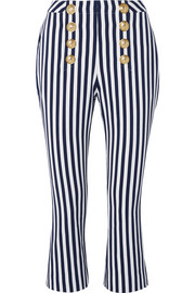 Cropped button-embellished striped cotton-drill flared pants